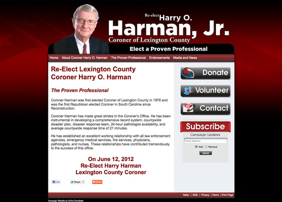 Re-elect Harry O Harman, Jr for Coroner of Lexington County