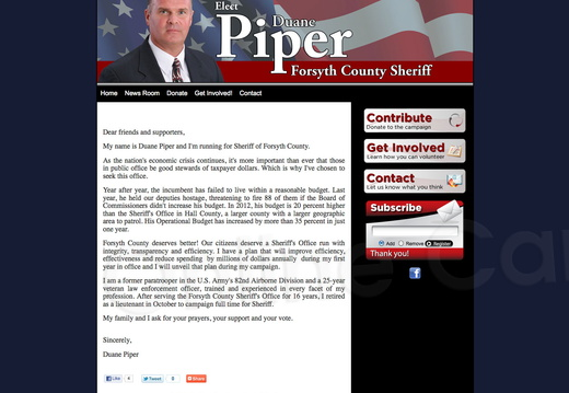 Duane Piper Forsyth County Sheriff
