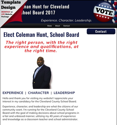 Elect Coleman Hunt for Cleveland County School Board