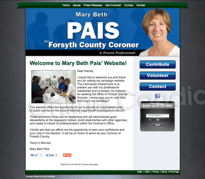 Mary Beth Pais for Forsyth County Coroner