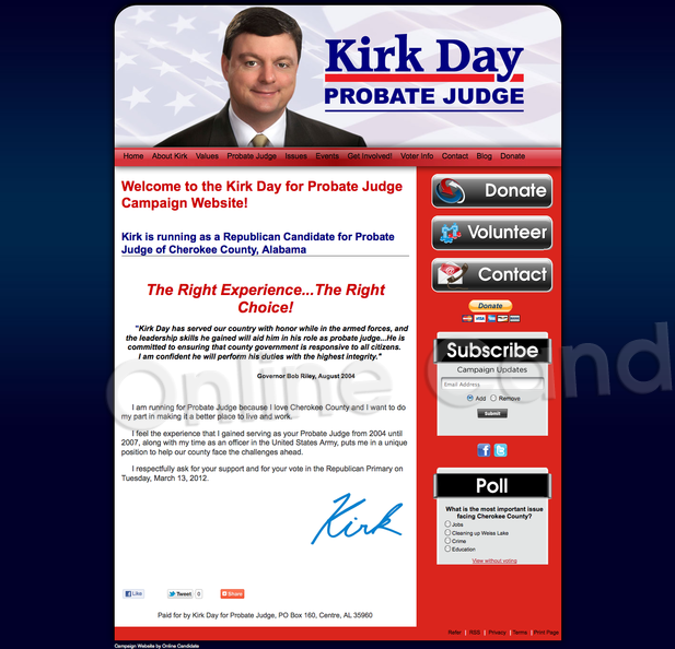 Kirk Day for Probate Judge of Cherokee County, Alabama