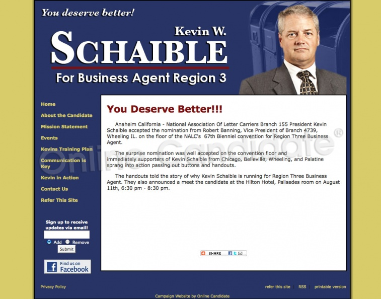 Kevin Schaible for National Association Of Letter Carriers Region Three