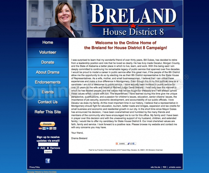 Drama Breland Alabama State House District 8