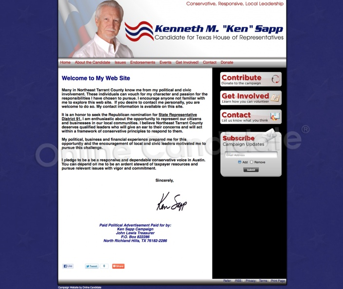 Kenneth M Sapp for Texas House of Representatives