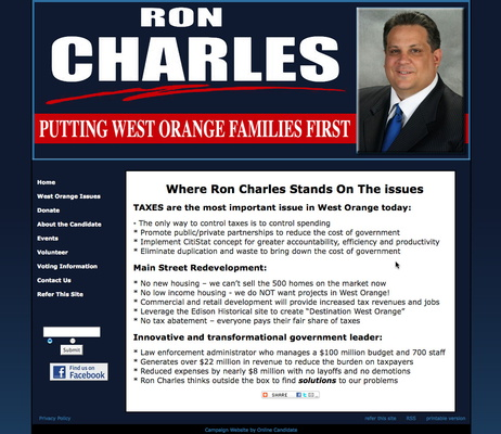 Ron Charles for West Orange Town Council Campaign Website