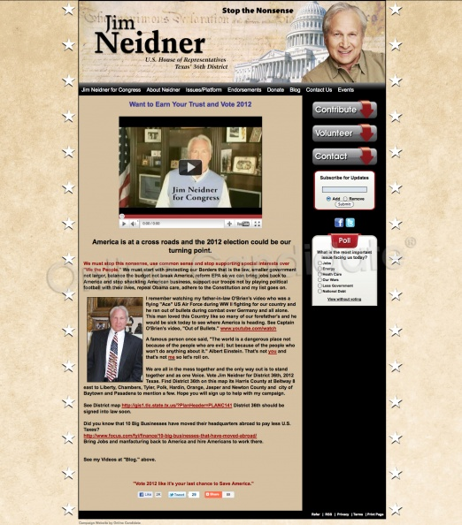 Jim Neidner US House of Representatives - Texas\' 36th District