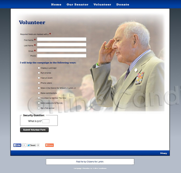 William Larkin for NY State Senate 39th Senate District   Volunteer Custom Page