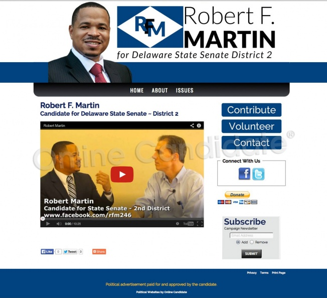 Robert Martin Candidate for Delaware State Senate ~ District 2