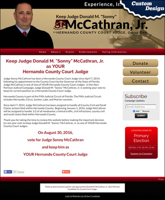 "Keep Judge Donald M. ""Sonny"" McCathran, Jr Hernando County Court Judge"