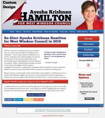 Re-Elect Ayesha Krishnan Hamilton for West Windsor Council