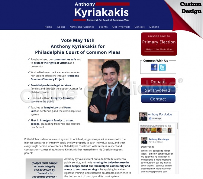 Elect Anthony Kyriakakis for Judge for the Philadelphia Court of Common Pleas