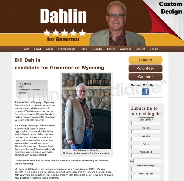 Bill Dahlin for Governor of Wyoming