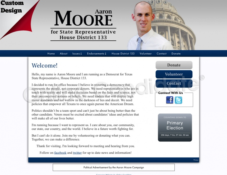 Aaron Moore for Texas State Representative, House District 133.