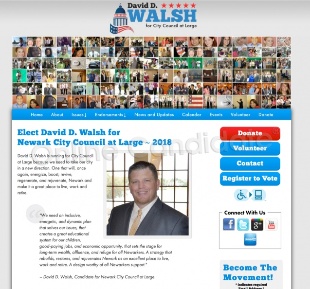 David D. Walsh, Candidate for Newark City Council at Large