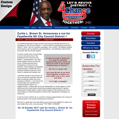 Curtis L. Brown Sr. Announces a run for Fayetteville NC City Council District 1 ""